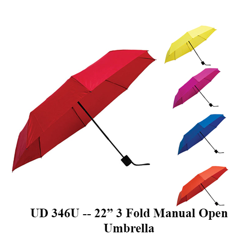 "UD 346U — 22"" 3 Fold Manual Open Umbrella"
