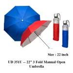 "UD 351U -- 22"" 3 Fold Manual Open Umbrella"