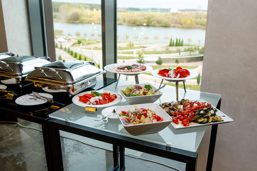 Vegetable snacks on a banquet table. Catering food.