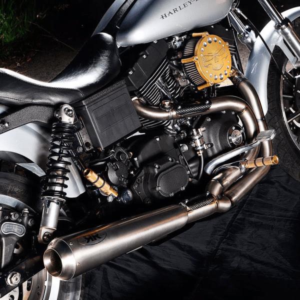 Twinoza x Redthunder Titanium exhaust 74025DYT on bike - closer look