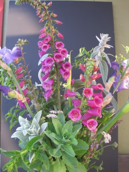 Spring Bouquet with foxglove and lambs ear