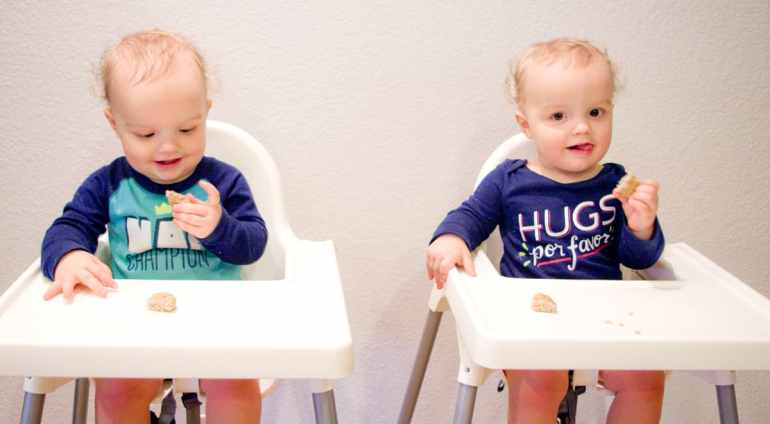 twins-highchairs-food