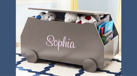personalized kids room decor toy box books