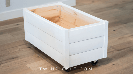 Build a DIY Toy box with shiplap painted