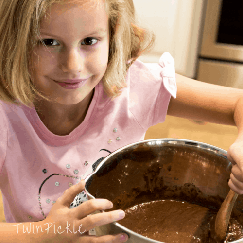 Mixing Chocolate Zucchini Brownies