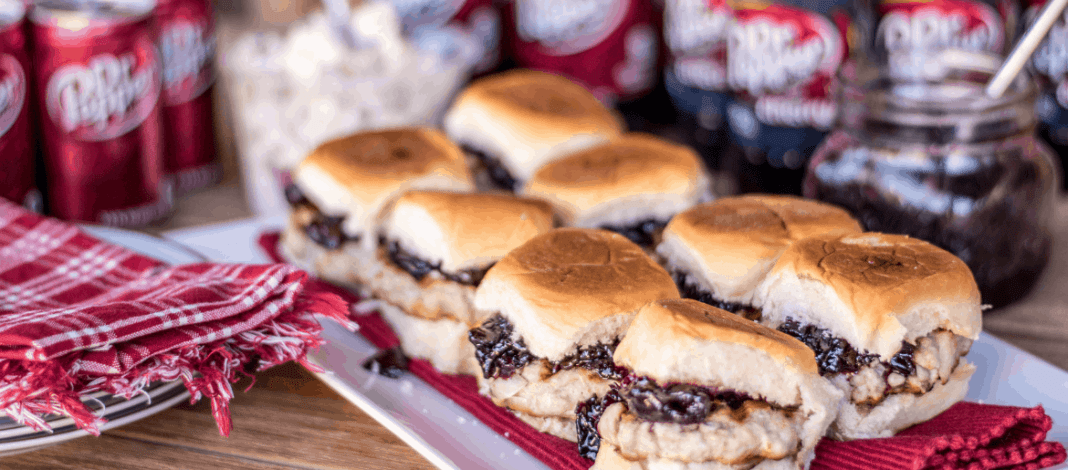 Cherry Chutney Pork Slider Recipe Tailgator Party with dr Pepper