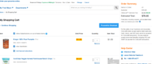 clicklist shopping cart and subtotal