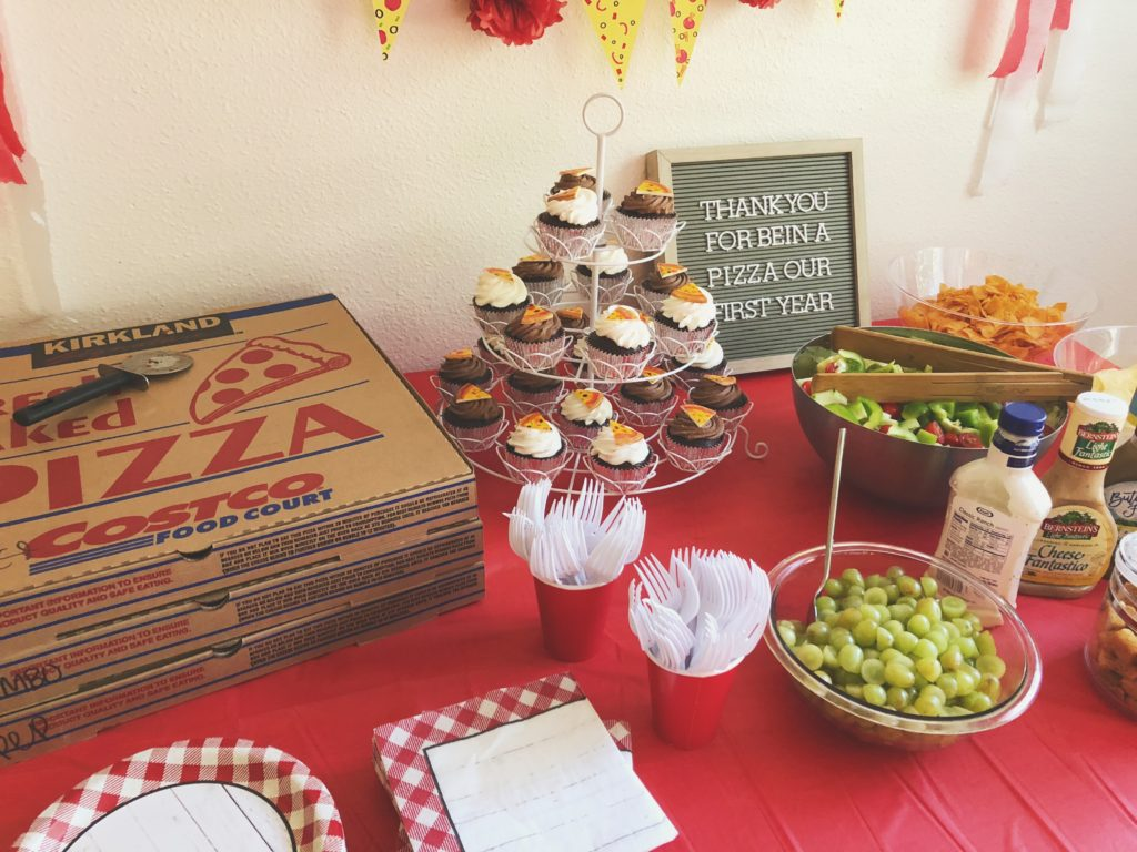 unique and different first birthday theme party idea for boy and girl pizza party theme. DIY first birthday idea for twins that is very creative