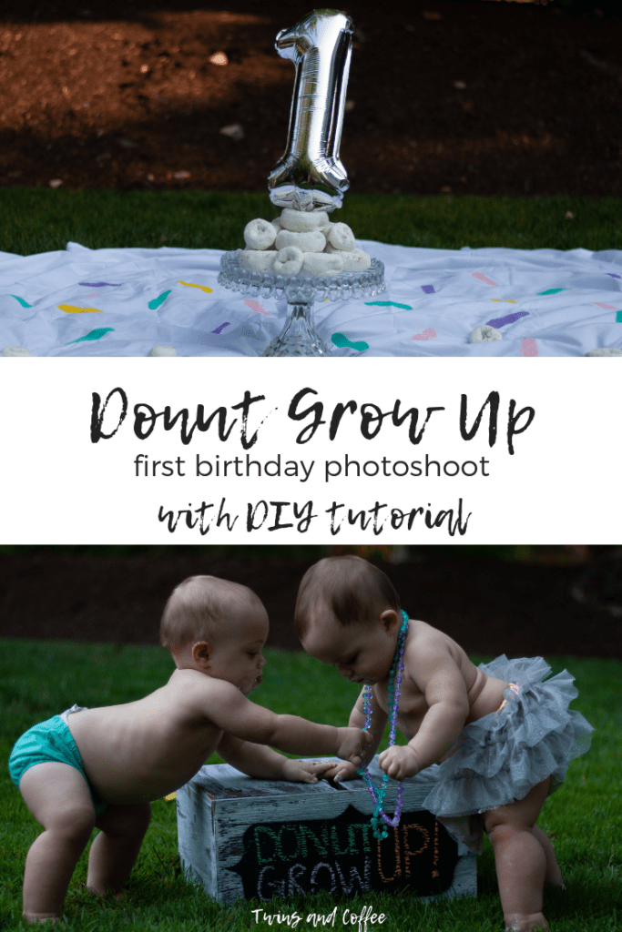 Twins and Coffee Donut Grow Up First Birthday Party Photoshoot with boy girl twins. Perfect birthday party photoshoot idea with DIY pictures and outfits