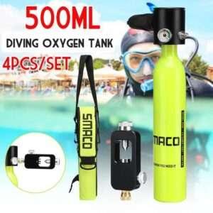 equipo de snorkel y buceo SMACO equipo de buceo reserva Mini 500mL tanque de oxígeno de buceo tanque de aire bomba de mano tanque de oxígeno con adaptador