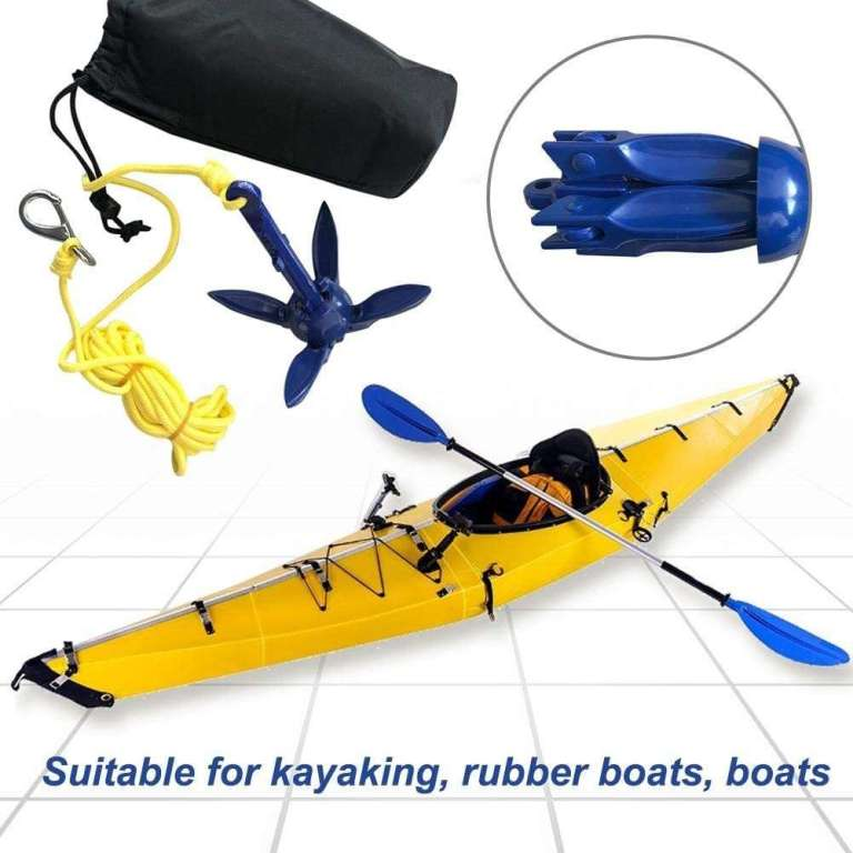 comprar en amazon Kit De Anclaje Plegable, Ancla De Kayak Plegables De Anclajes De Barco para Botes Pequeños, Kayaks, PWC, Moto De Agua, Tablas De Remo, 400 G con 16.4 Pies De Cuerda Marina