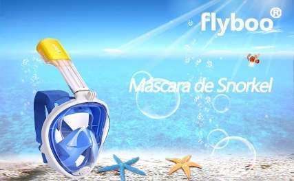 Mascar Flyboo de color azul y tubo amarillo de decathlon sumergida en el mar