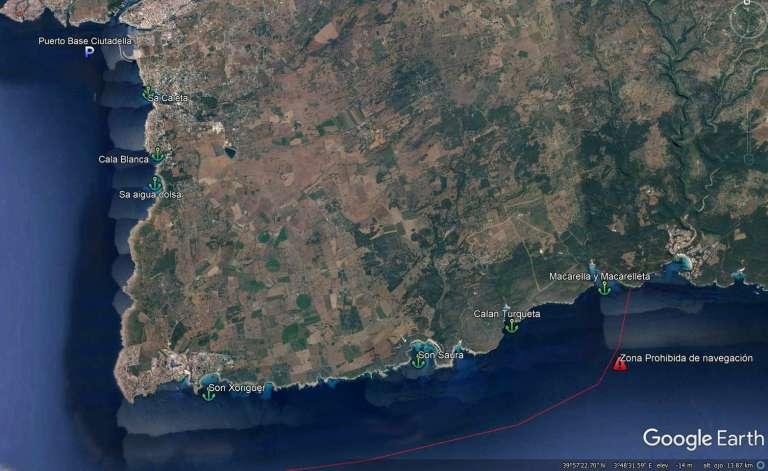 Zona de navegación de Menorca zona sur de Ciutadella, Calan Bosch, Cala Galdana