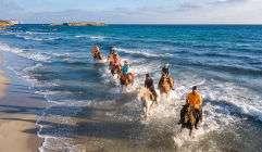 grupo de excursion montando a caballo en Menorca