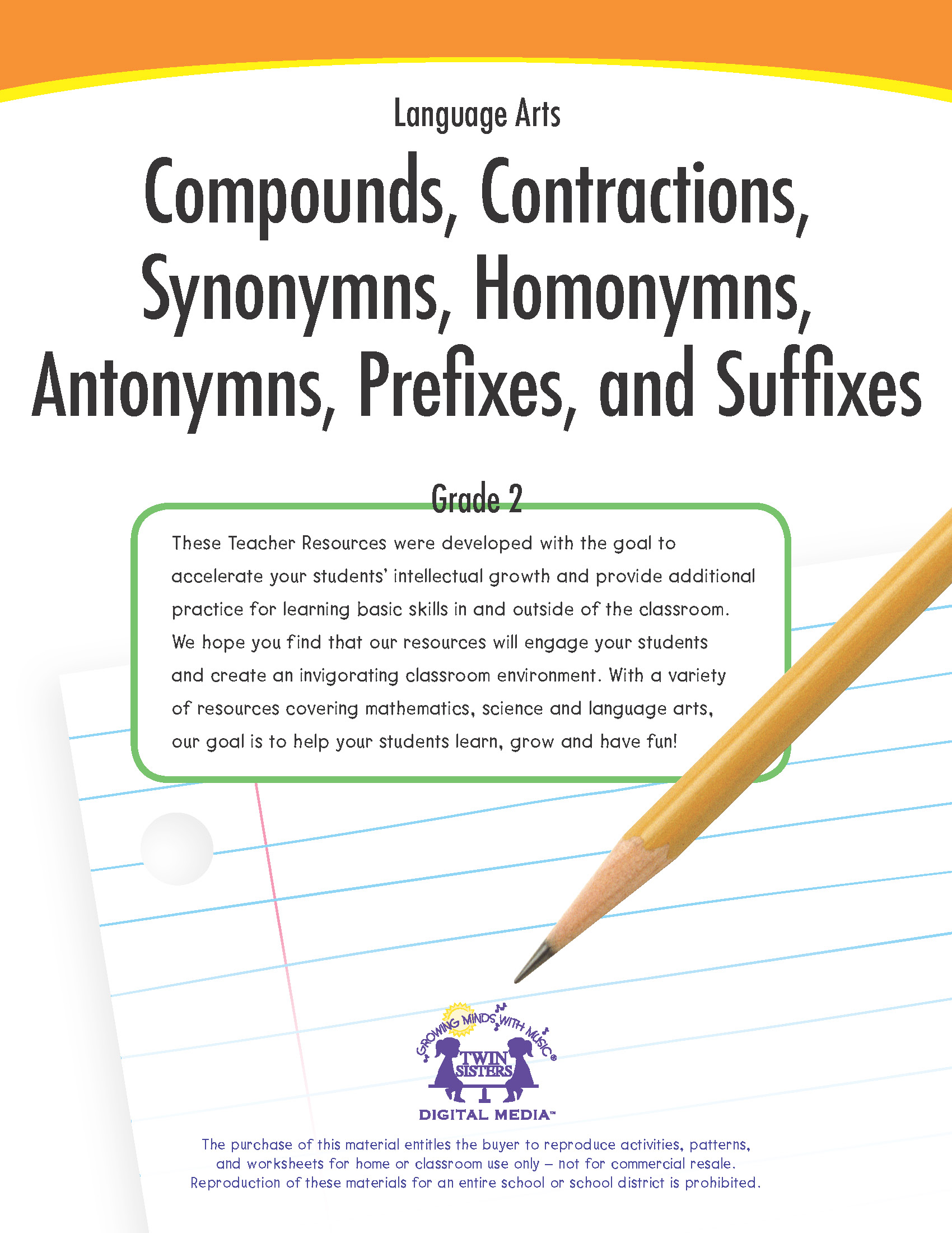 Language Arts Grade 2 Compounds Contractions Synonyms
