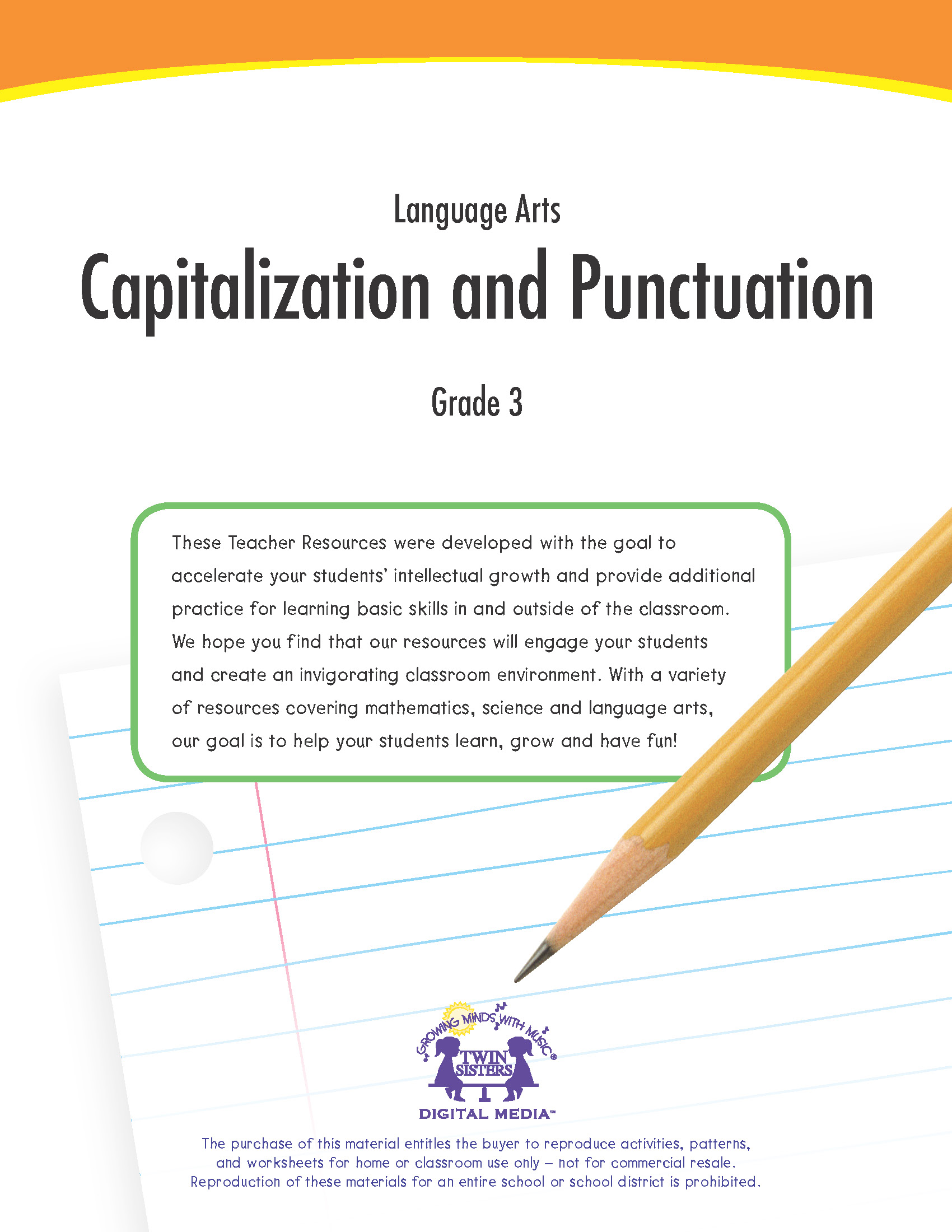 Language Arts Grade 3 Capitalization And Punctuation