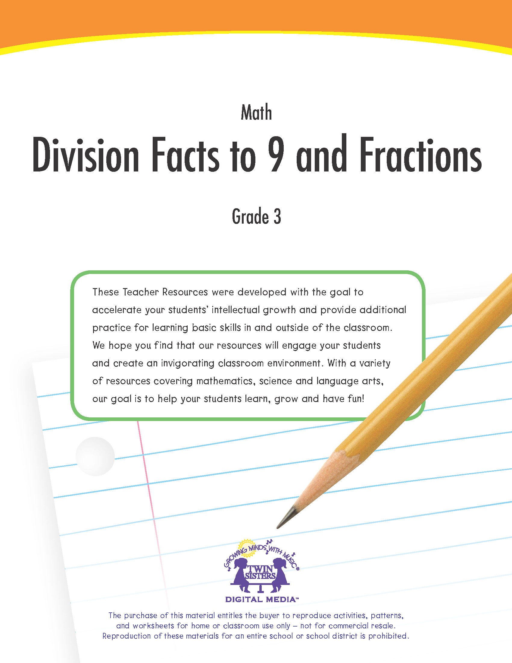 Math Grade 3 Division Facts To 9 And Fractions