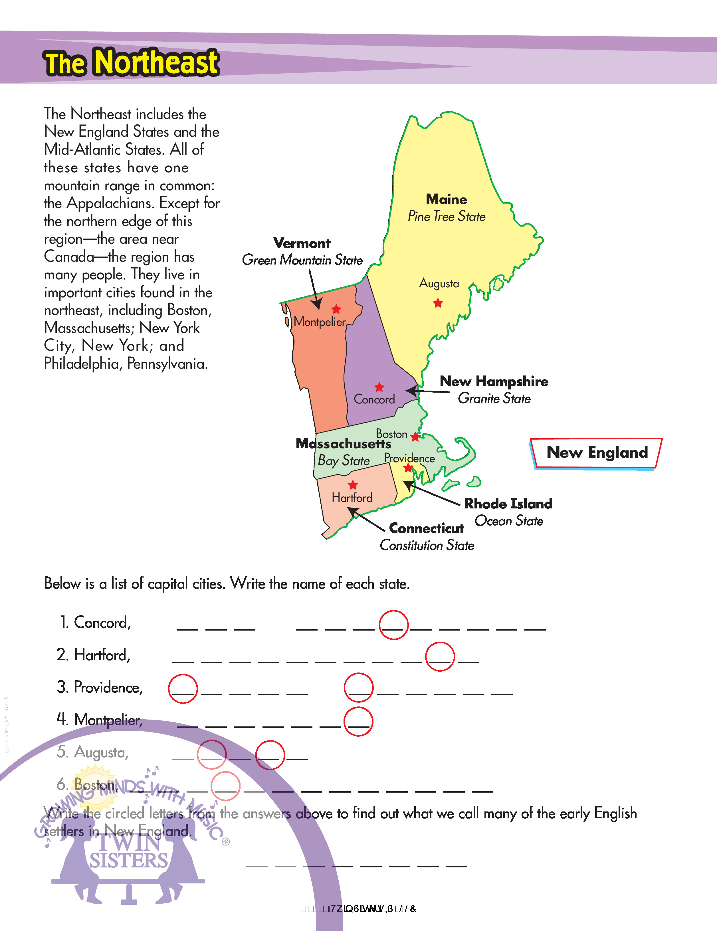 New England Map Printable Worksheet