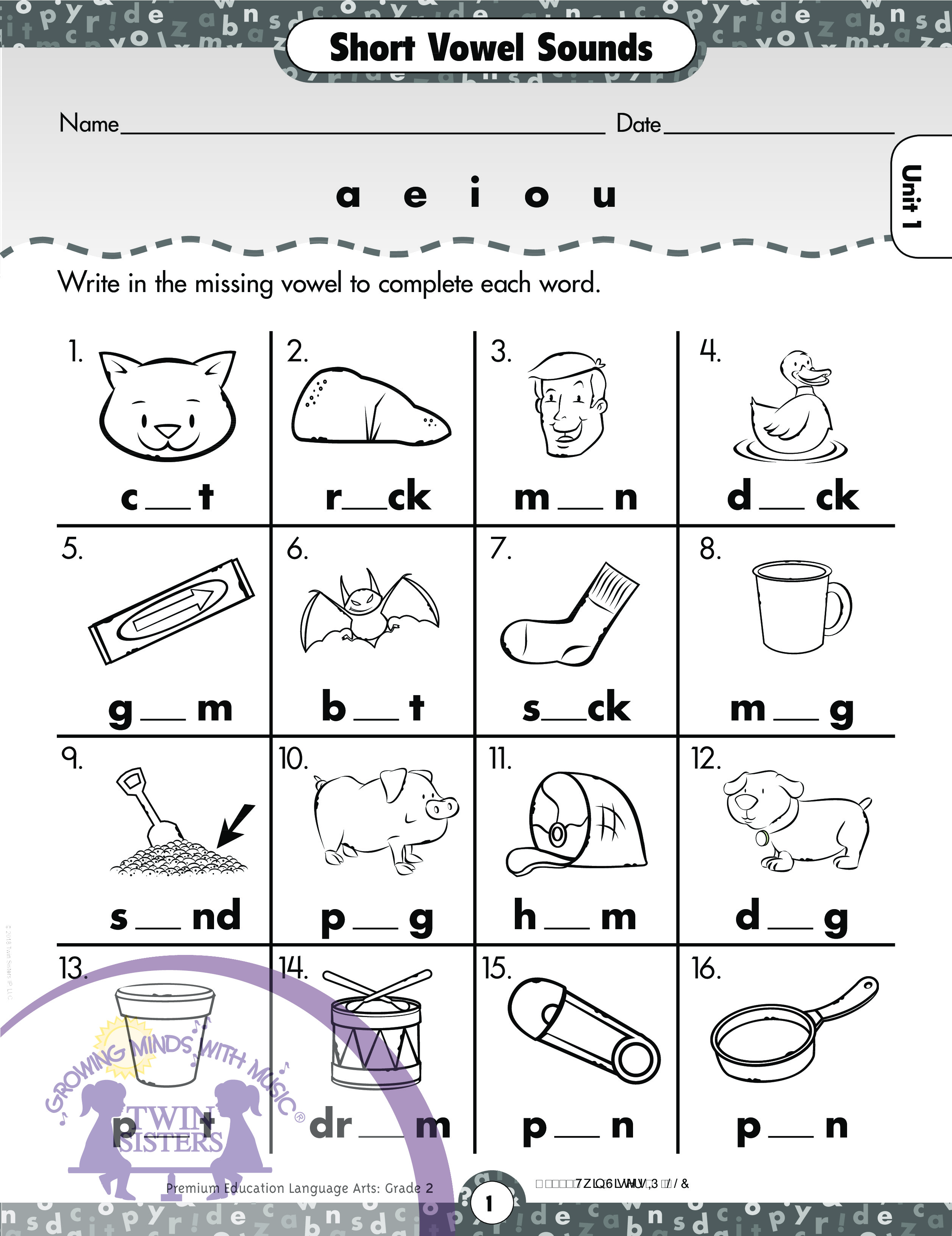 Language Arts Grade 2 Vowel Digraphs And Diphthongs