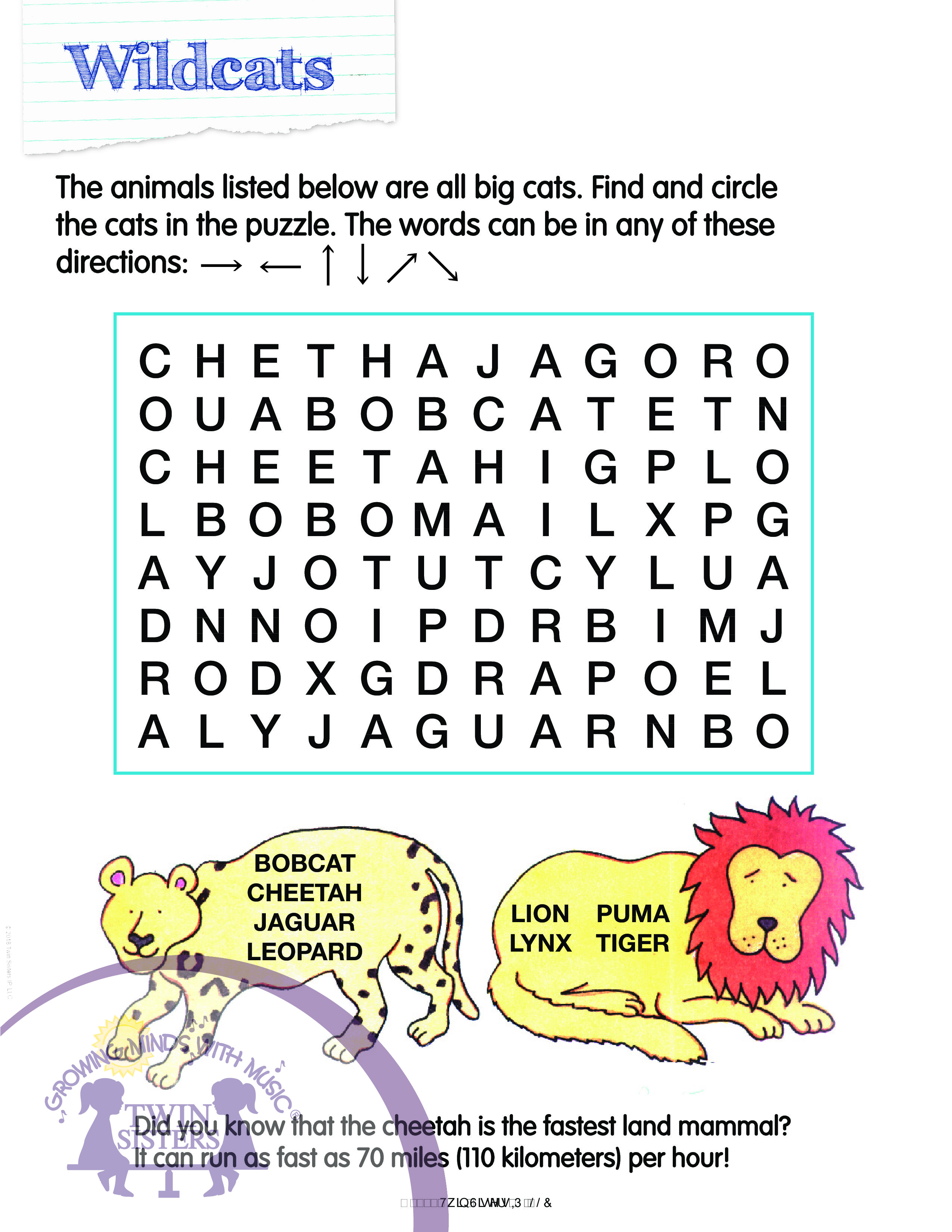 Animal Lovers Word Search Activities