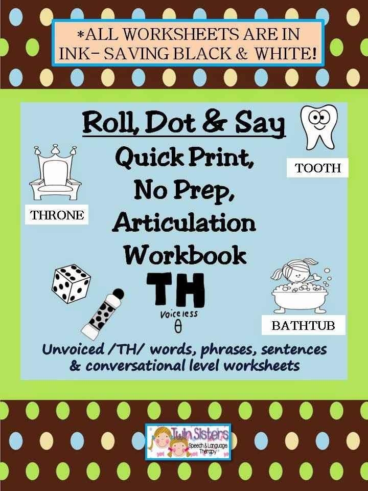 Roll Dot Say Quick Print NO PREP Articulation Workbooks 1 – S Articulation Worksheets
