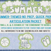 1/2 off! Quick Print, No Prep -Summer Articulation Unit