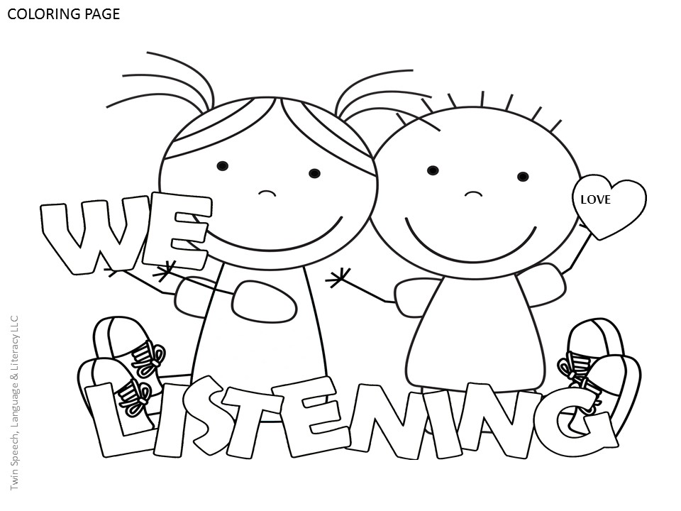 FREE Speech Therapy Door Signs Coloring Pages Twin Speech
