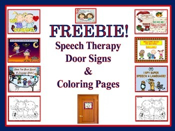 FREE Speech Therapy Door Signs Amp Coloring Pages Twin