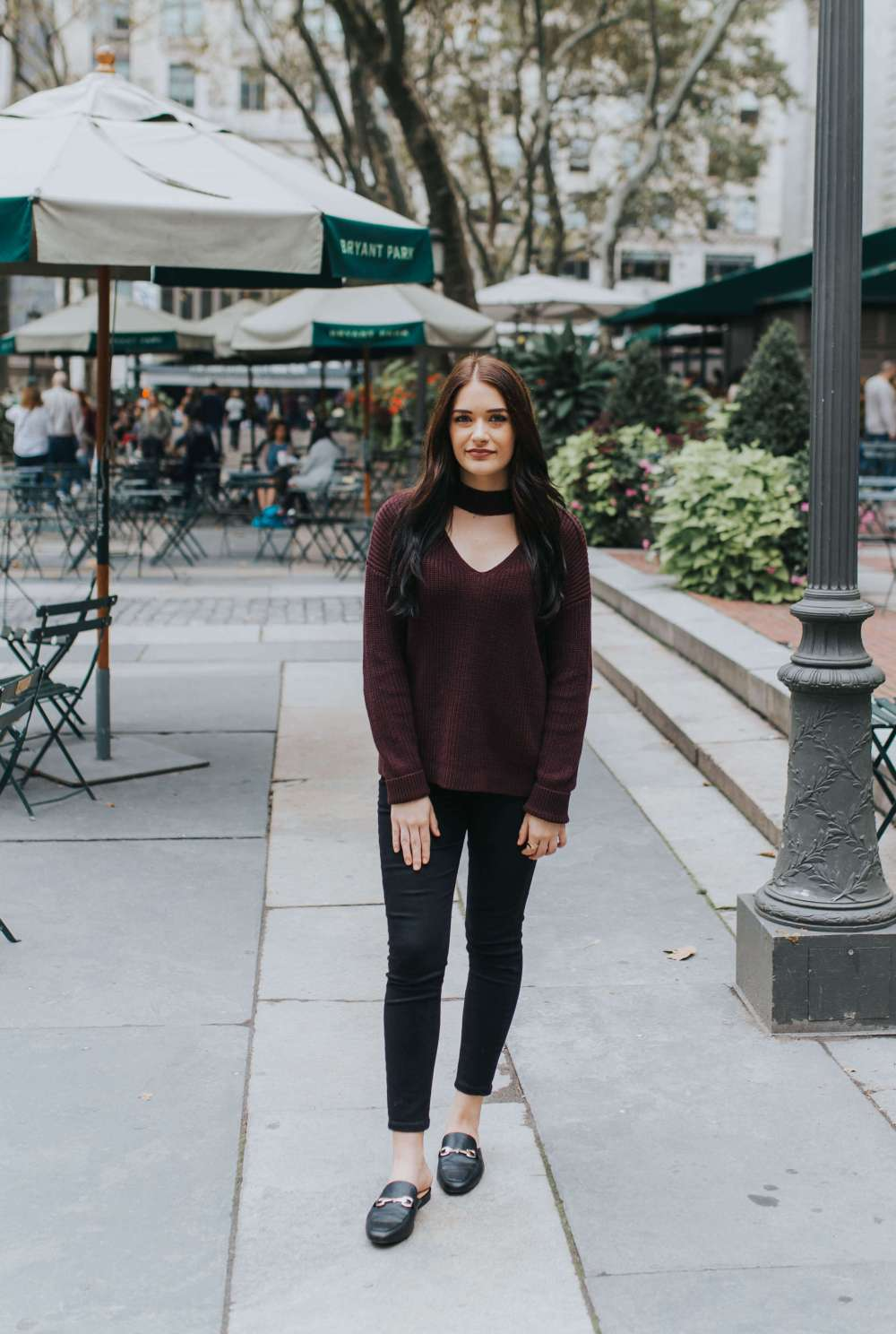 Burgundy in Bryant Park | Twinspiration