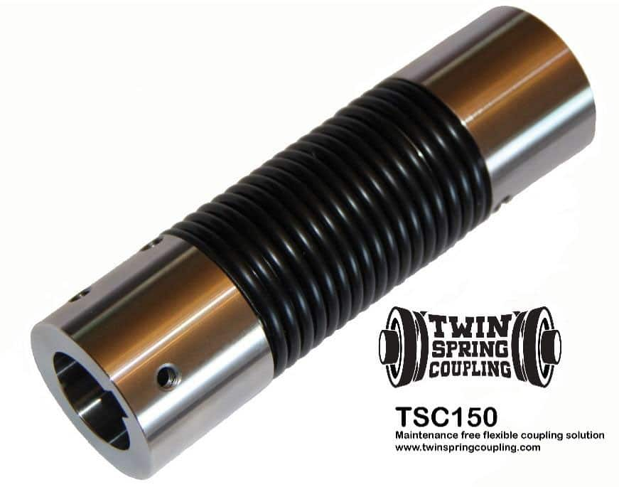 Twin Spring coupling TSC150 flexible coupling replaces universal joints, servo, beam, bellows and elastomeric couplings