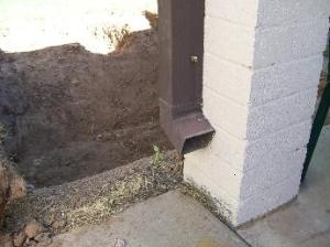 Downspout without rainwater redirection