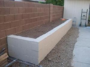 Concrete block planter