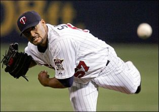 Johan Santana pitched for Minnesota from 2000 -2007. Santana is tied for third most wins in Dome history (46) and second-most strikeouts (754). Johan was a three-time All-Star and won Cy Young Awards in 2004 and 2006. Won 17 consecutive games in the Dome from 2005-2007.