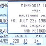 1988 Twins ticket. Click on the ticket to see the full image.