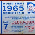 1965 World Series game 7 ticket. Who ever had this ticket watched Hall of Famer Sandy Koufax beat the Twins in that game. Click on the ticket to see the full image.