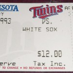 1993 Twins ticket. Click on the ticket to see the full image.