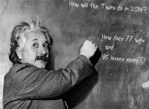 According to Mr. Einstein there will be no fourth straight 90+ loss season for the Twins. Although not a SABR member, the man knows his numbers.