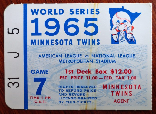 1965 Twins World Series game 7 ticket