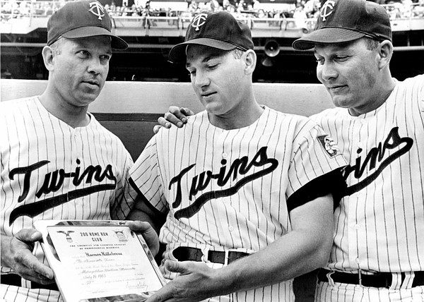 """Harmon Killebrew joins the 200 Home Run club on Sept. 15, 1963. He is joined by teammates Wally Post, left and Vic Wertz. (Pioneer Press file)"""