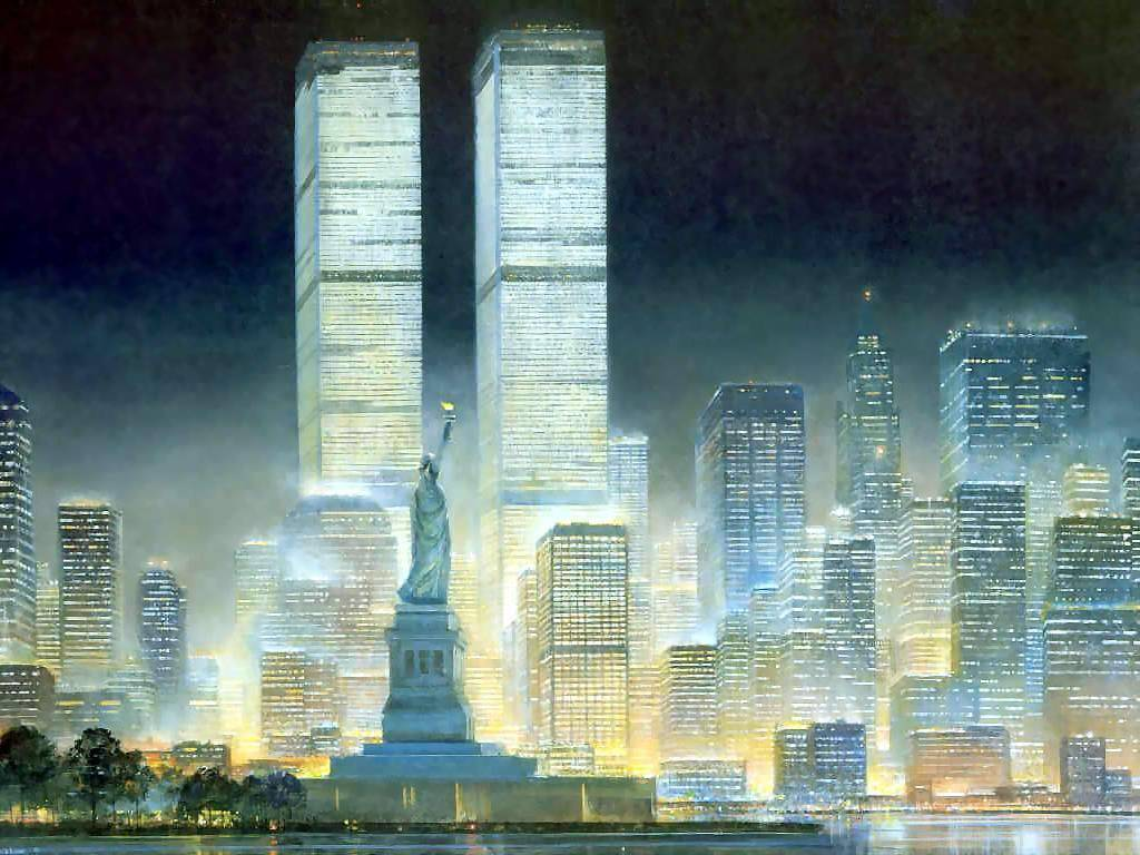 New Twin Liberty Skyline York And Watercolor Tower Statue Painting