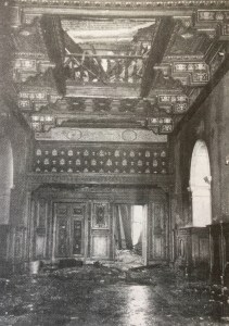 The main entrance to the house after the fire.