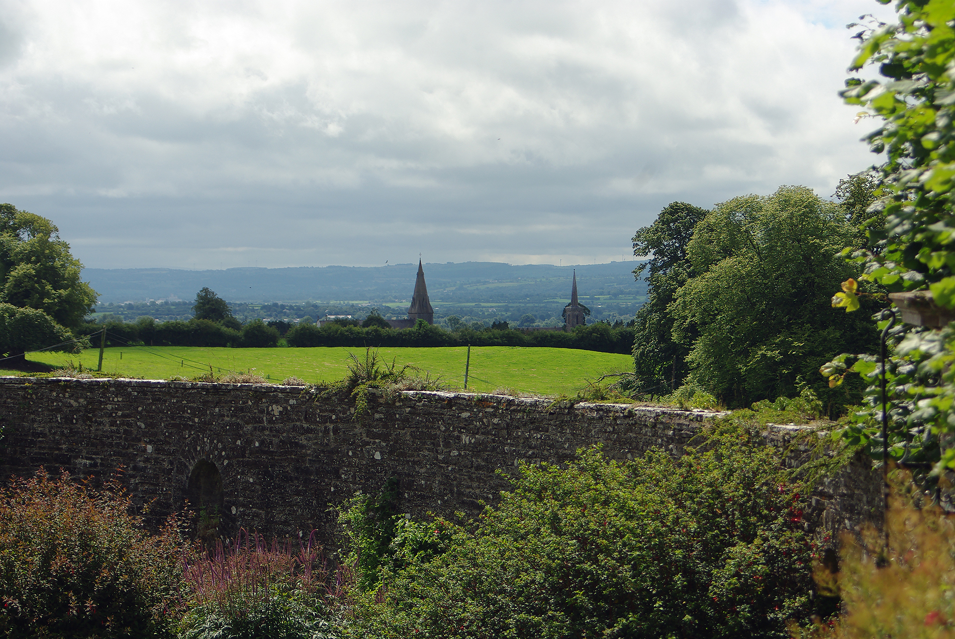 The Two Towers - View of Ballinakill Village, from Heywood Gardens