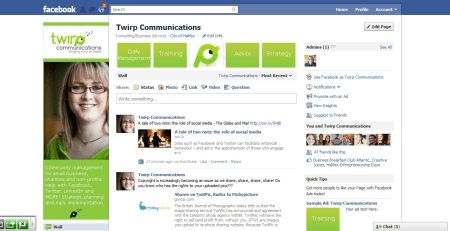 Facebook Fan Page for Twirp communications
