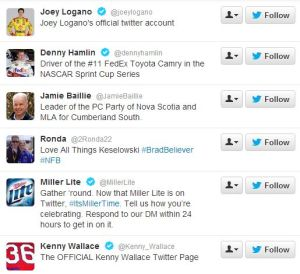 Following unrelated Twitter accounts