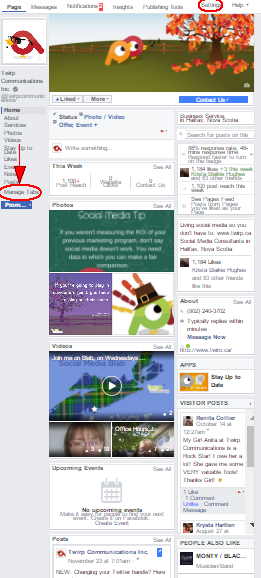Twirp Communications Facebook Page Timeline layout