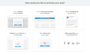 promotion options for social media quizzes built in Interact