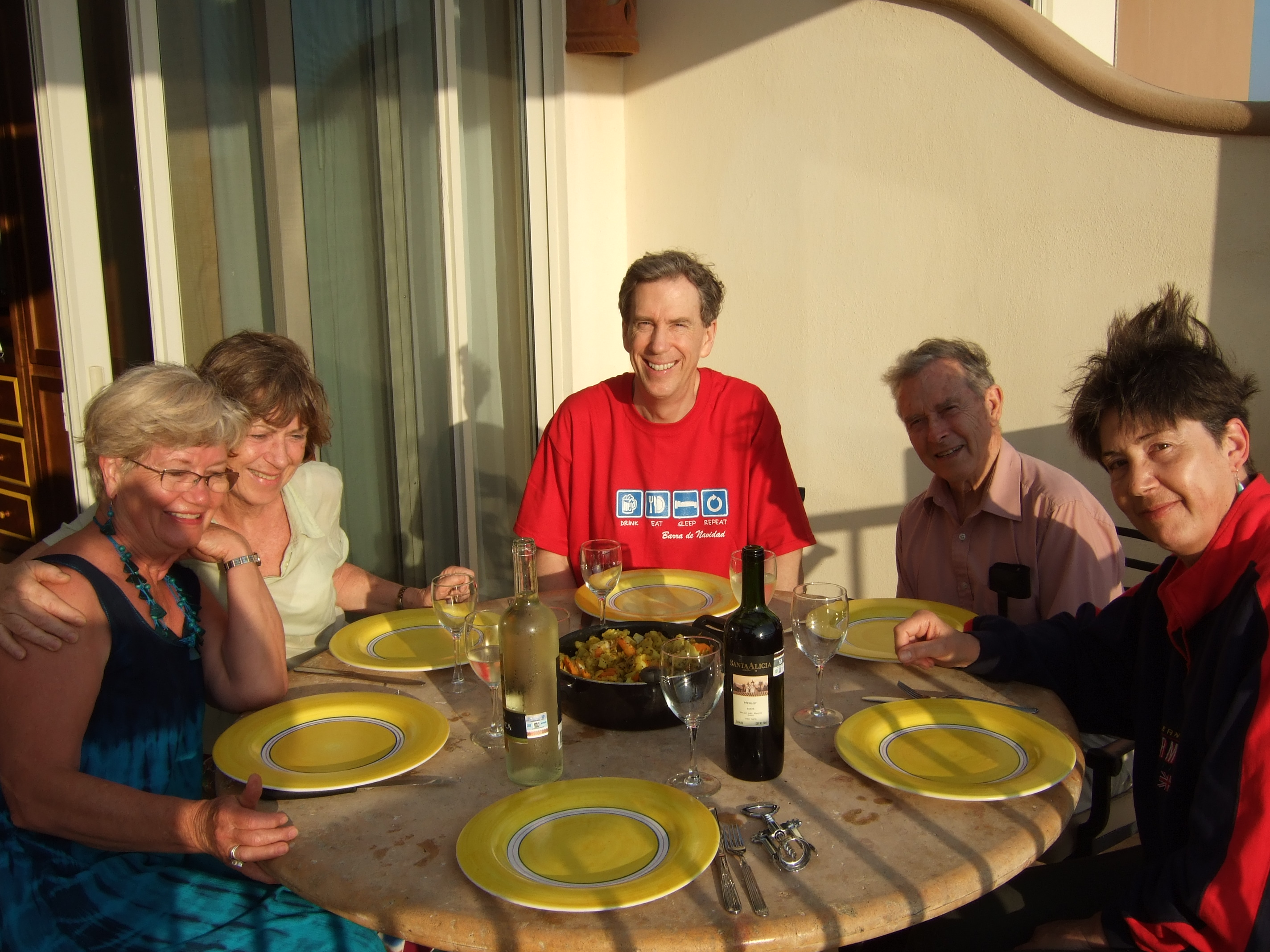 a windswept dinner on the patio