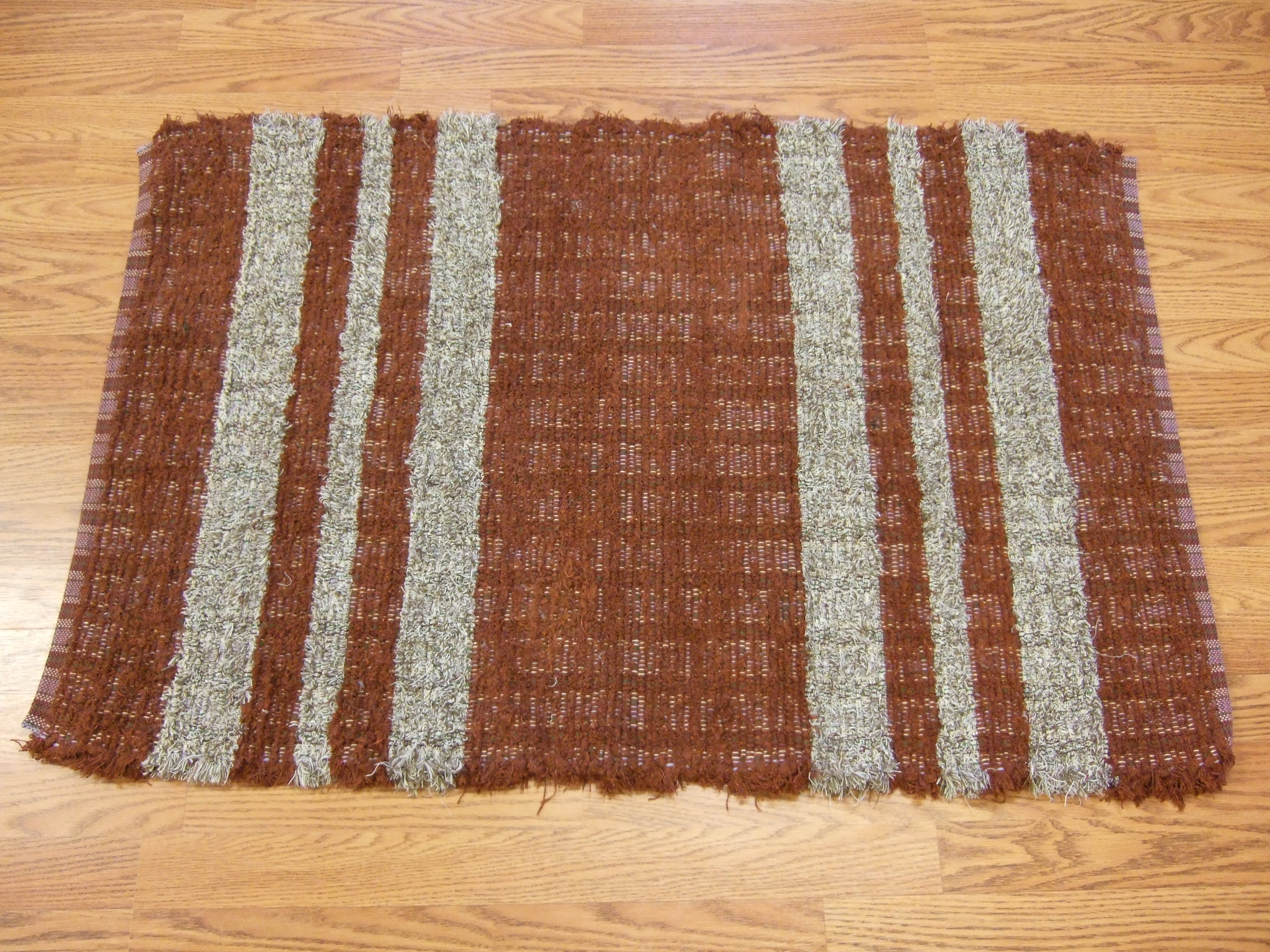 """Rust & tan fringed selvages, probably cotton, 42"""" long"""
