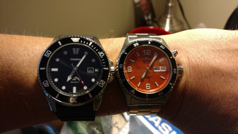 Casio MDV106 next to Orient Mako