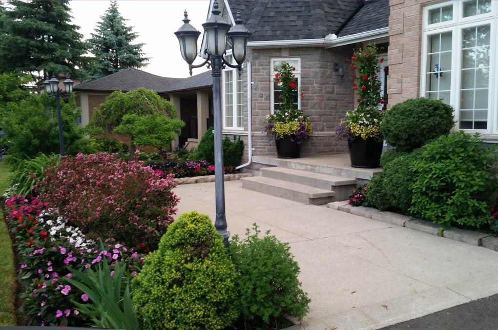front garden and seasonal summer pots